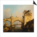A Capriccio of a Ruined Renaissance Arcade and Pavillion by a Waterway Crossed by a Wooden