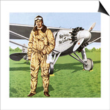 Charles Lindbergh and the Plane in Whch He Flew across the Atlantic  Solo