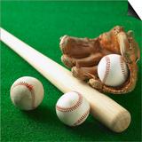 A Baseball  Gloves and a Bat