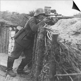 German Sniper in a Trench on the Western Front During World War I