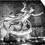 The Prometheus Statue with Snow by Night at Rockefeller Center in New York