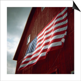 American Flag on Red Barn