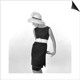 Black Sleeveless Dress with White Belt  1960s