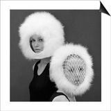 Two Capsule Line Feathered Helmets  1960s