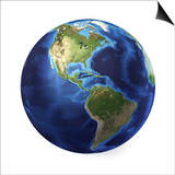3D Rendering of Planet Earth  Centered on North America and South America