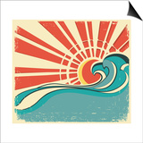 Sea WavesVintage Illustration Of Nature Poster With Sun On Old Paper