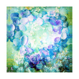 Floral Seashell Heart Green Blue