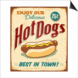 Vintage Hot Dogs Metal Sign