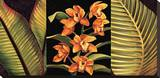 Orange Orchids and Palm Leaves