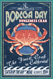 Bodega Bay  California - Dungeness Crab Vintage Sign
