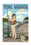 Stone Harbor  New Jersey - Fishing Pinup