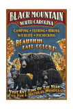 Black Mountain  North Carolina - Black Bears Vintage Sign