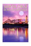 Santa Cruz  California - Beach Boardwalk and Moon at Twilight