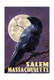 Salem  Massachusetts - Raven and Moon Purple Sky