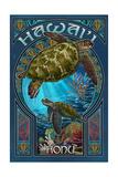 Hawaii - Sea Turtle Art Nouveau