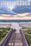 Stone Harbor  New Jersey - Beach Boardwalk Scene