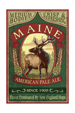 Maine - White Tailed Deer Ale Vintage Sign