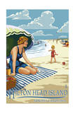 Hilton Head Island  South Carolina - Woman on Beach