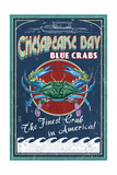 Chesapeake Bay  Virginia - Blue Crab Vintage Sign
