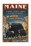 Maine - Black Bear Family Vintage Sign