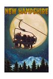 New Hampshire - Ski Lift and Full Moon