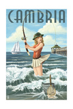 Cambria  California - Pinup Girl Fishing