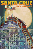 Santa Cruz  California - Big Dipper Coaster and Moon