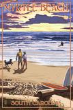 Myrtle Beach  South Carolina - Beach Walk and Surfers