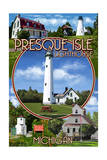 Presque Isle  Michigan - Lighthouse Montage