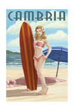 Cambria  California - Surfer Pinup