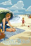 Myrtle Beach  South Carolina - Woman on Beach