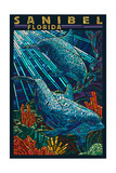 Sanibel  Florida - Dolphins Paper Mosaic