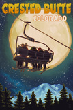 Crested Butte  Colorado - Ski Lift and Full Moon