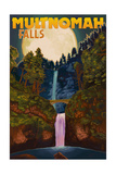 Multnomah Falls  Oregon and Full Moon