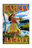 Hawaii Hula Girl on Coast - Kailua  Hawaii