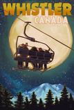 Ski Lift and Full Moon - Whistler  Canada