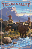 Teton Valley  Idaho - Cowboy Cattle Drive Scene