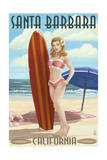 Santa Barbara  California - Surfer Pinup