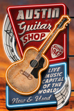 Austin  Texas - Guitar Shop Vintage Sign