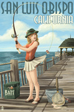 San Luis Obispo  California - Pinup Girl Fishing