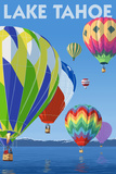 Lake Tahoe  California - Hot Air Baloons Scene