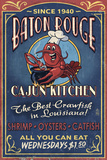 Baton Rouge  Louisiana - Cajun Kitchen Vintage Sign