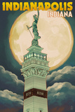 Indianapolis  Indiana - Soldiers' and Sailors' Monument and Moon