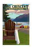 Lake Crescent and Adirondack Chairs - Washington