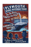 Plymouth  Massachusetts - Blue Whale Watching Vintage Sign
