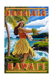 Hula Girl on Coast - Honolulu  Hawaii