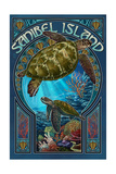 Sanibel Island  Florida - Sea Turtle Art Nouveau