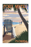Fort Myers  Florida - Adirondack Chair on the Beach
