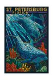 St Petersburg  Florida - Dolphins Paper Mosaic