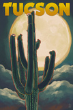 Tucson  Arizona Cactus and Full Moon